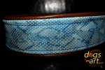 dogs-art Limited Edition Snake Martingale Chain Leather Collar - dark brown/snake blue