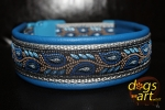 dogs-art Leave Easy Release Buckle Leather Collar - electric blue/silver/leaves blue