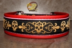 dogs-art Skulls Martingale Leather Collar - fire red/pink/skulls golden