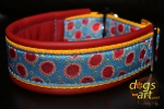 dogs-art Dotty Martingale Leather Collar - fire red/sun yellow/dotty