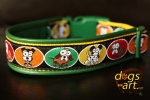 dogs-art Crazy Dogs Easy Release Buckle Leather Collar - green/yellow/crazy dogs