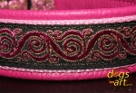 dogs-art Royal Candy Martingale Leather Collar - hot pink/pink/pink