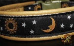 dogs-art Moonlight Easy Release Buckle Leather Collar - olive/silver/moonlight