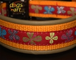 dogs-art Butterfly Easy Release Alu Buckle Leather Collar - olive/sun yellow/butterfly