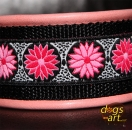 BIG-dog by dogs-art Daisy Dot Martingale Chain Leather Collar - pink/black/pink