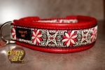 dogs-art Pinwheel Zinnia Easy Release Buckle Leather Collar - red/red/red
