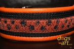 dogs-art Paw Prints Easy Release Alu Buckle Leather Collar - tangerine/black/paw prints